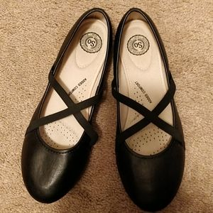 So Brand Black Leather-like Ballet Flats